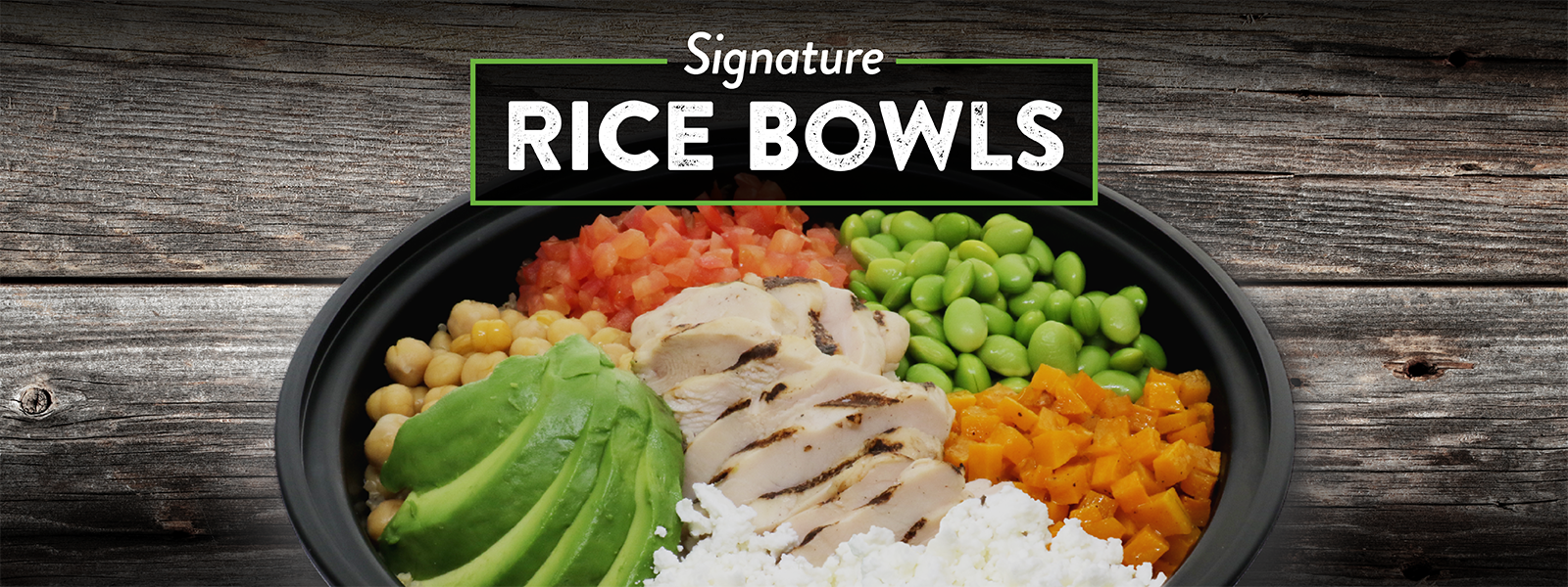 New Rice Bowls With Rice, Chicken, Avocado, Chick Peas, Butternut Squash, Edamame And Feta